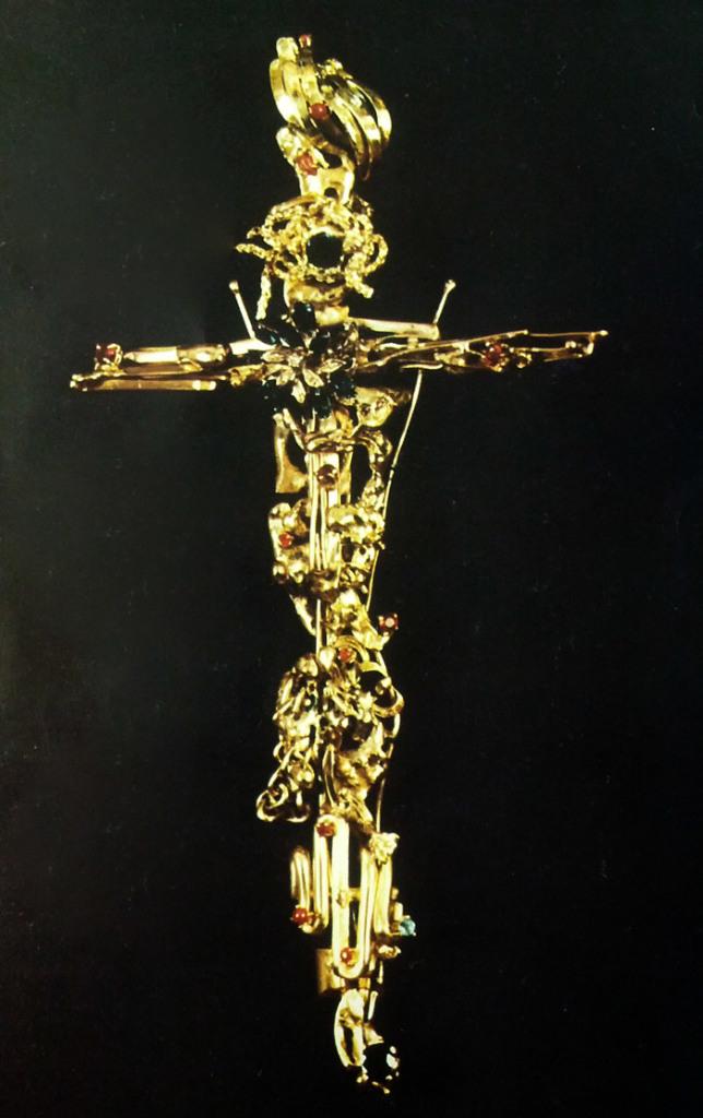 Sculture da indossare - Croce in oro, zaffiri, rubini - Mario Inverardi