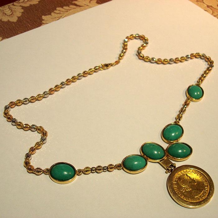 ciondolo-oro-tre-colori-turchese-sterlina