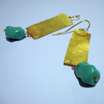 orecchini-oro-battuto-turchese1