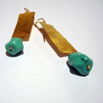 orecchini-oro-battuto-turchese2